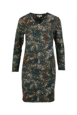 Enjoy jurk v-hals allover panter print Petrol 172679