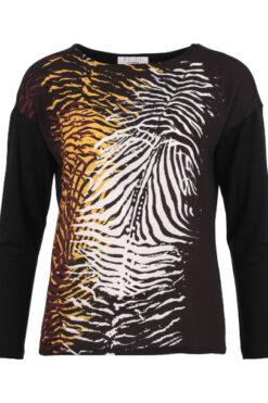 Enjoy sweater lange mouw 2 materialen print zwart 183567
