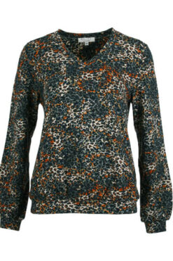 Enjoy sweater v-hals aop baby futter Petrol 172680