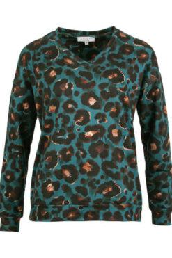 Enjoy sweater v-hals lange mouw allover dieren print Petrol 183552