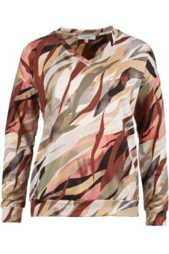 Enjoy sweater v-hals wave print Multi Collor 183554