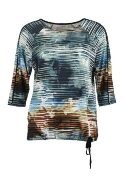 Enjoy t-shirt 3-4 mouw batik strepen print blue 880057