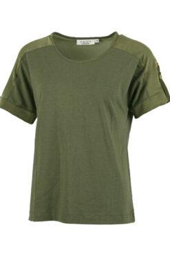 Enjoy t-shirt korte mouw 2 materialen Army 176741