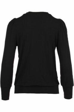 Enjoy t-shirt uni Lange mouw plooitjes zwart 171003