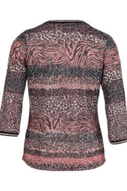 Enjoy t-shirt v-hals devore aop 3-4 mouw Bordeaux 169470