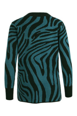 Enjoy vest zebra jaquard met zakken Petrol 420483